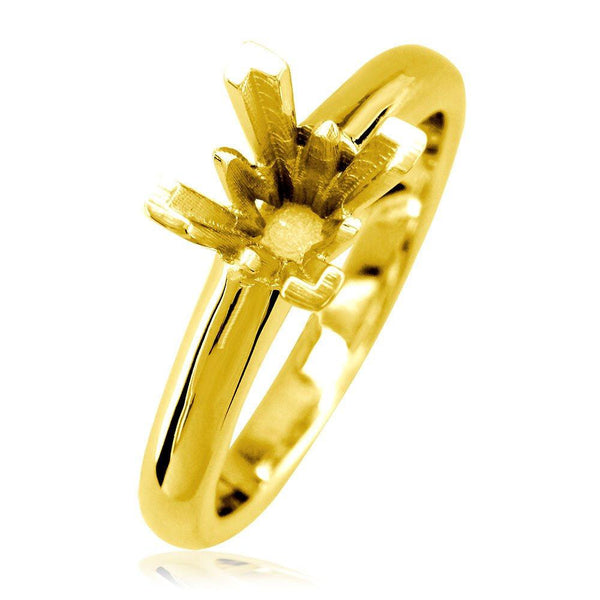Princess Cut Solitaire Engagement Ring in 18K Yellow Gold, Crown Setting