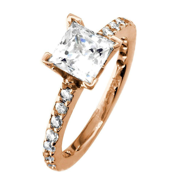 Engagement Ring Setting for a Princess Cut Diamond, 0.40CT Sides in 14k Pink, Rose Gold