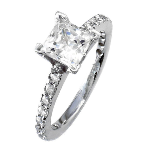 Engagement Ring Setting for a Princess Cut Diamond, 0.40CT Sides in 14k White Gold