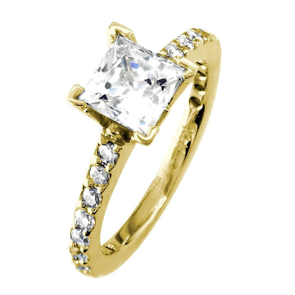 Engagement Ring Setting for a Princess Cut Diamond, 0.40CT Sides in 14k Yellow Gold