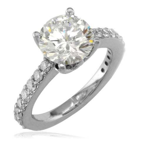 Engagement Ring Setting for a Round Diamond, 0.65CT Total Sides in 14K White Gold