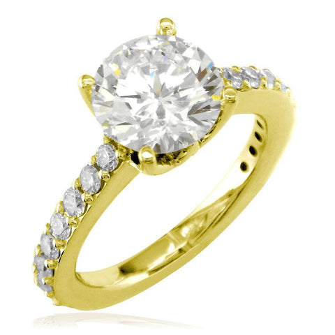 Engagement Ring Setting for a Round Diamond, 0.65CT Total Sides in 14K Yellow Gold