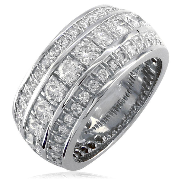 3 Row Mens Wide Diamond Wedding Band in 14k White Gold