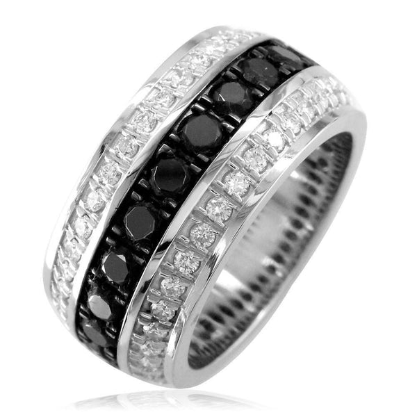 Mens Wide Black and White Diamonds Wedding Band in 14k White Gold