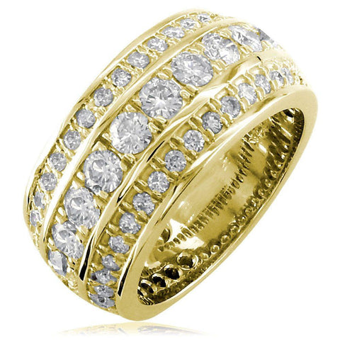 3 Row Mens Wide Diamond Wedding Band in 14k Yellow Gold