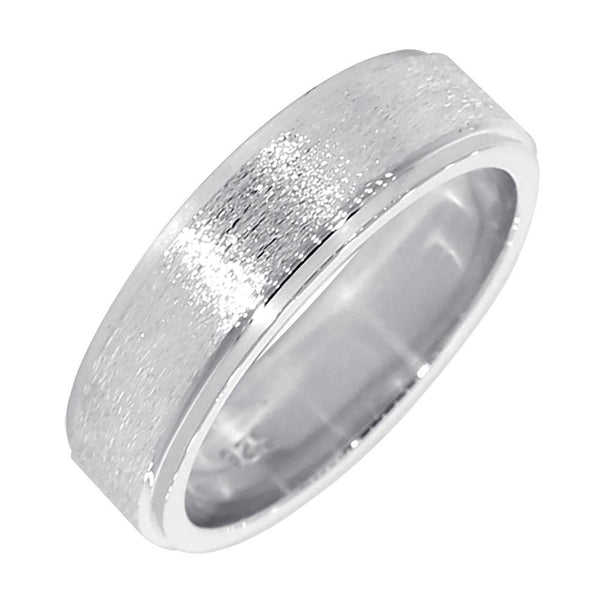 Mens Wedding Band with Satin Polish, 7mm Wide in Sterling Silver