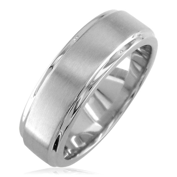 Mens Wedding Band with Satin Polish, 7mm Wide in 14k White Gold