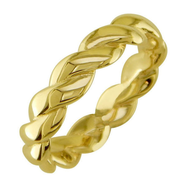 Mens or Ladies Rope Ring Wedding Band, 5mm Wide in 14k Yellow Gold