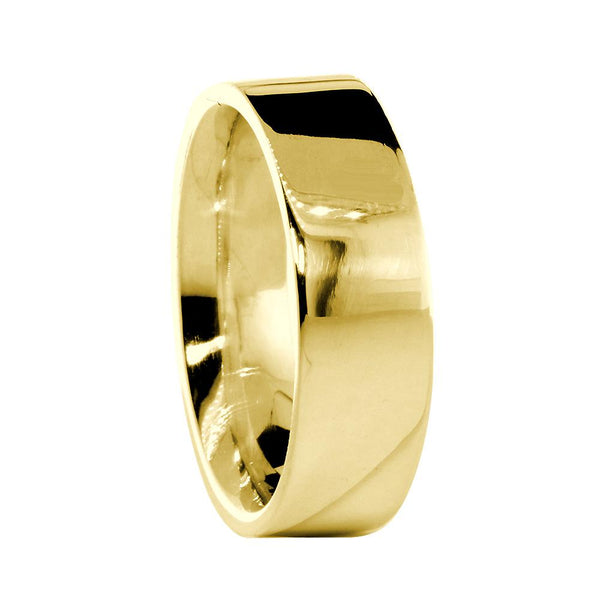 Mens Classic Plain Flat Wedding Band, 6.5mm Wide in 14K Yellow Gold