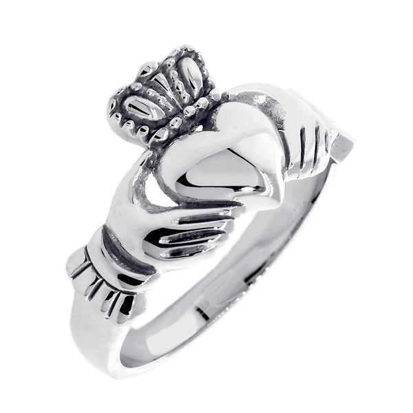 Gents Claddagh Wedding Ring in 18k White Gold