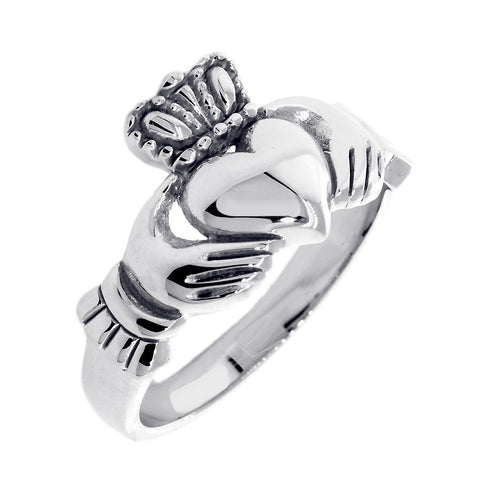 Gents Claddagh Wedding Ring in 14k White Gold