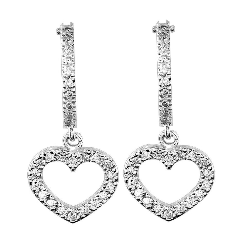 Open Diamond Heart Earrings and Hoops, 0.36CT in 14K White Gold