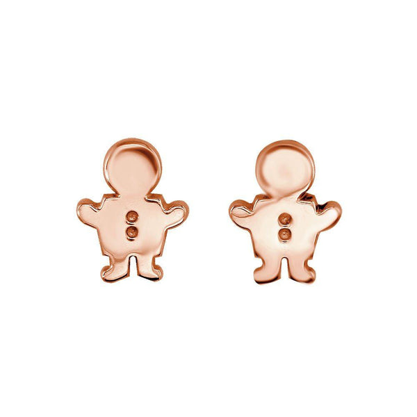 Mini Sziro Boy Earrings with Post Backs in 14k Pink, Rose Gold