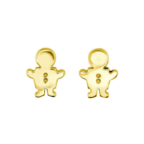 Mini Sziro Boy Earrings with Post Backs in 14k Yellow Gold