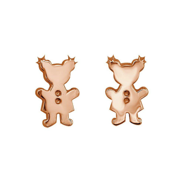 Mini Sziro Girl Earrings with Post Backs in 14k Pink, Rose Gold