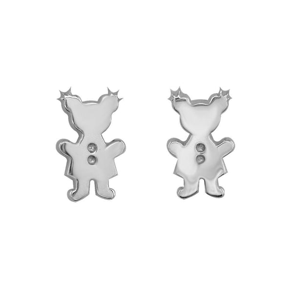 Mini Sziro Girl Earrings with Post Backs in 14k White Gold