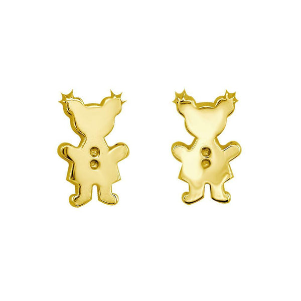 Mini Sziro Girl Earrings with Post Backs in 14k Yellow Gold