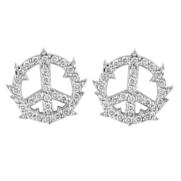 Small Diamond Guarded Peace Sign Charm Earrings in 14K White Gold