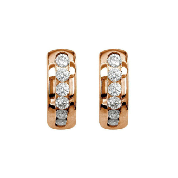 Channel Set Diamond Huggies Earrings in 14k Pink, Rose Gold