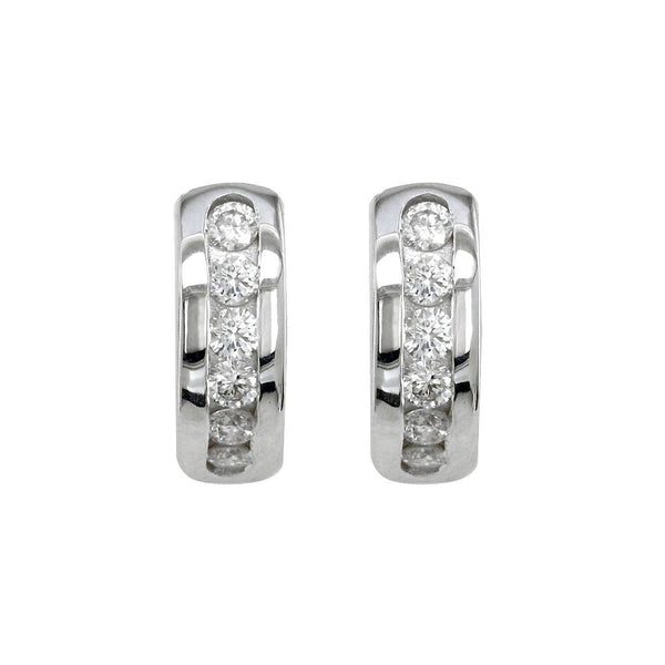 Channel Set Diamond Huggies Earrings, 0.55CT in 14k White Gold