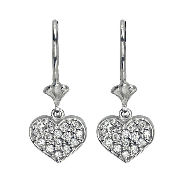 Dangling Diamond Heart Earrings, 0.30CT in 14K White Gold