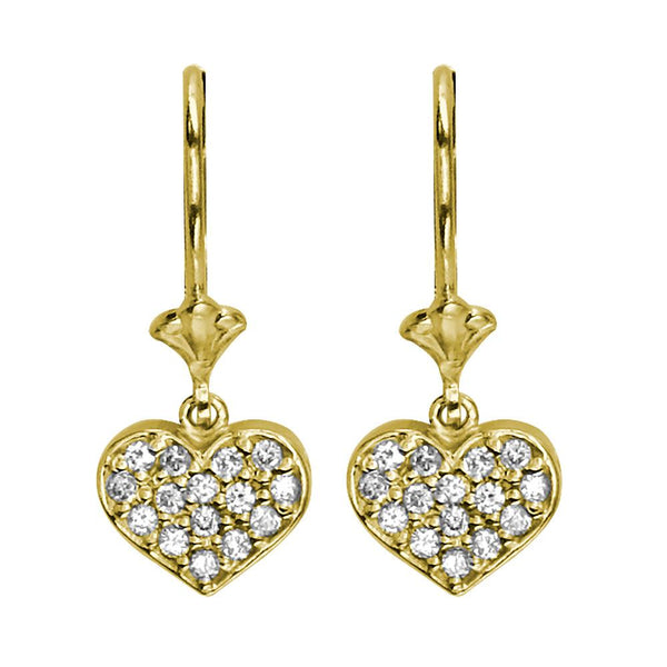 Dangling Diamond Heart Earrings, 0.30CT in 14K Yellow Gold