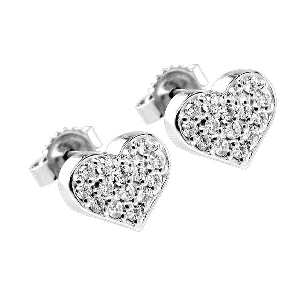 Diamond Heart Earrings, 0.30CT in 14K White Gold