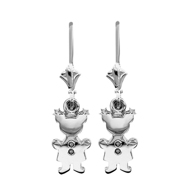 Moms Dangling Mini Sziro Girl Charm Earrings in Sterling Silver