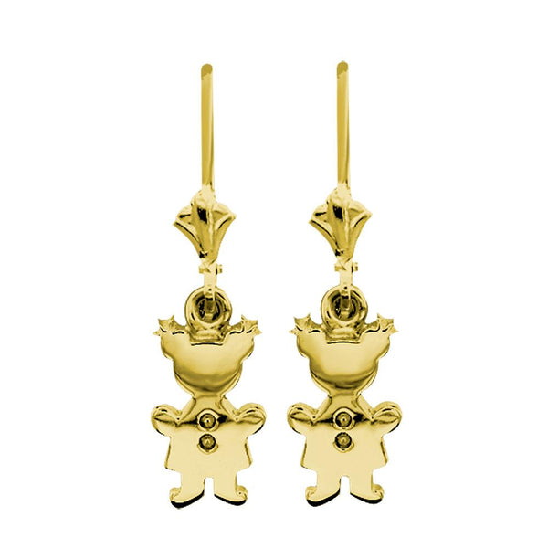 Moms Dangling Sziro Girl Charm Earrings in 14k Yellow Gold