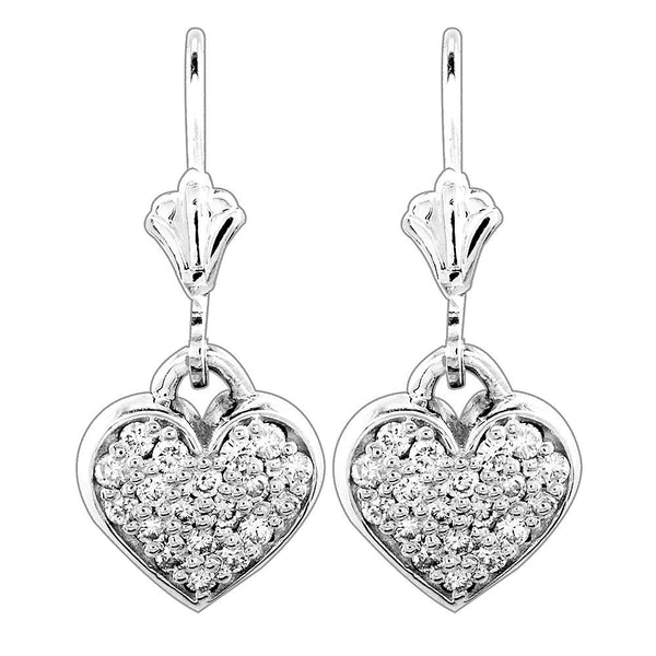 Dangling Diamond Heart Earrings, 0.38CT in 14K White Gold
