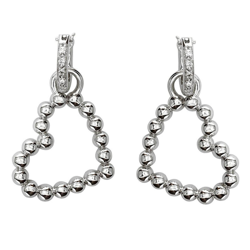 Beaded Diamond Heart Earrings, 0.20CT in 14K White Gold