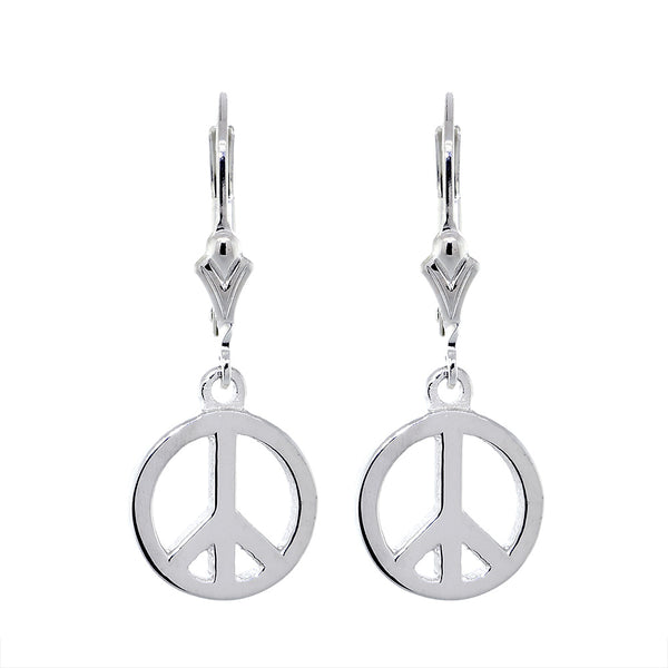 11mm Peace Sign Charm Lever Back Earrings in 14k White Gold