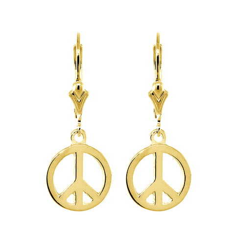 11mm Peace Sign Charm Lever Back Earrings in 14k Yellow Gold