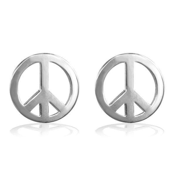 Small Solid Peace Sign Charm Earrings in Sterling Silver