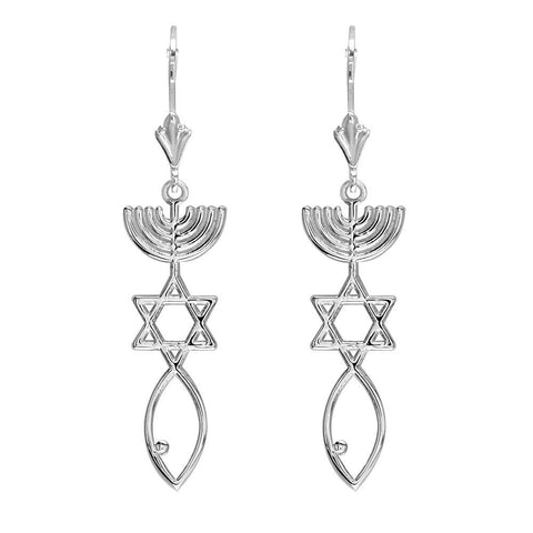 Messianic Seal Jewelry Charm Earrings in 14K White Gold