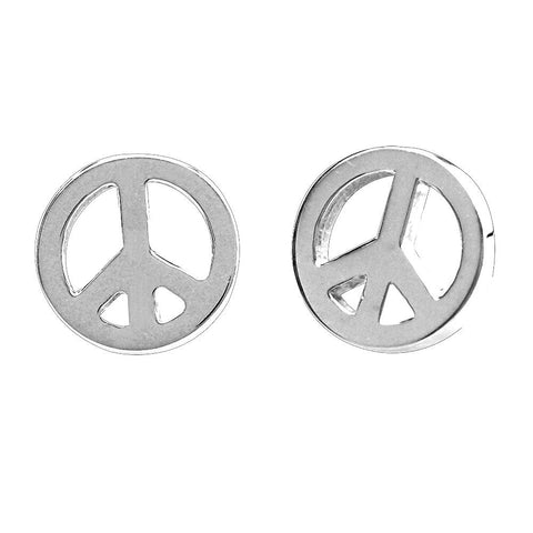 Mini Peace Sign Charm Earrings in 14K White Gold