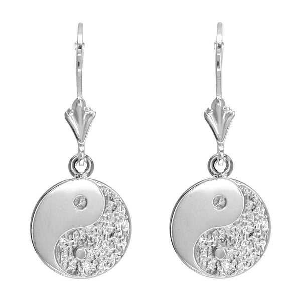 Mini Yin and Yang Leverback Earrings in 14k White Gold