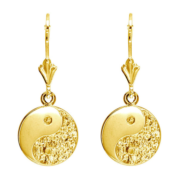 Mini Yin and Yang Leverback Earrings in 14k Yellow Gold