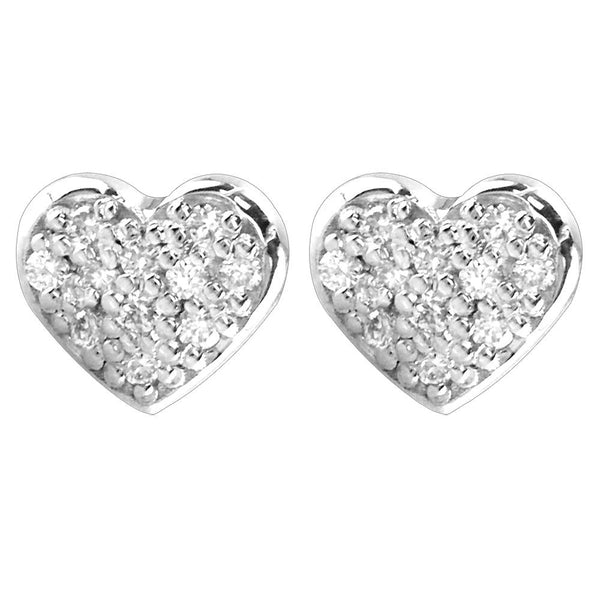 14K White Gold Small Diamond Heart Earrings, 0.22CT