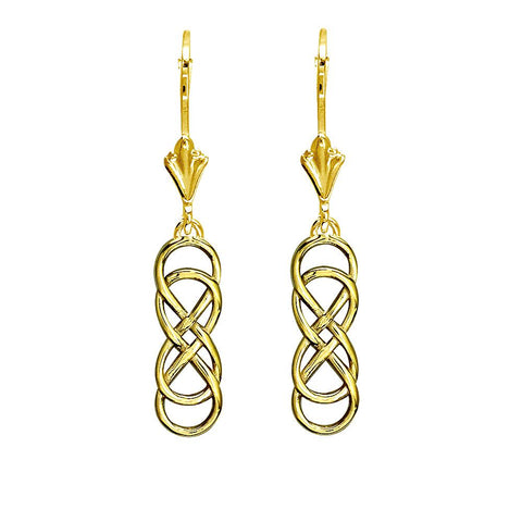 Small Double Infinity Symbol Drop Earrings in 14K Yellow Gold