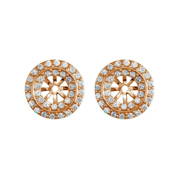 Round Diamond Stud Earring Jackets, 2 Rows, 11.5mm in 14k Pink, Rose Gold