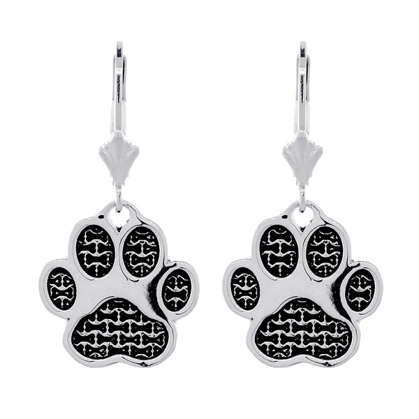 Dangling Dog Paw Earrings on Leverbacks in 14k White Gold