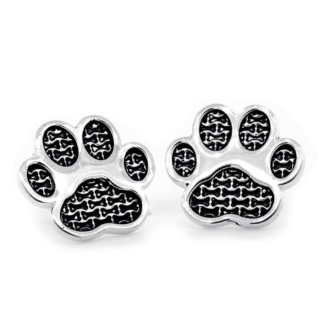 Dog Paw Earrings with Post Backs in 14k White Gold