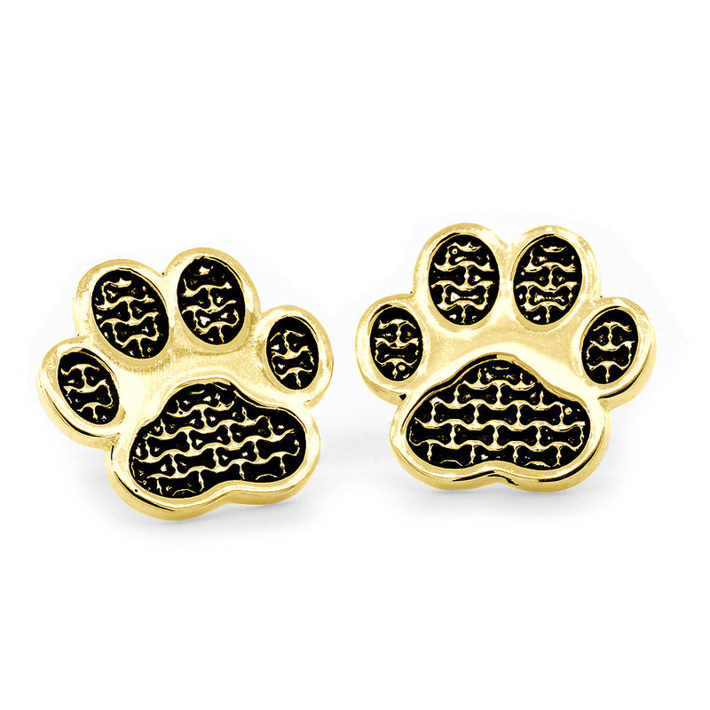 Dog Paw Earrings with Post Backs in 14k Yellow Gold