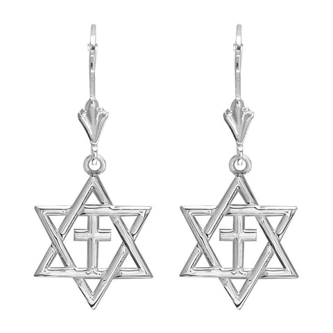 Small Messianic Star of David with Cross Charm Earrings in 14k White Gold