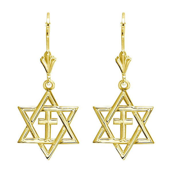 Small Messianic Star of David with Cross Charm Earrings in 14k Yellow Gold