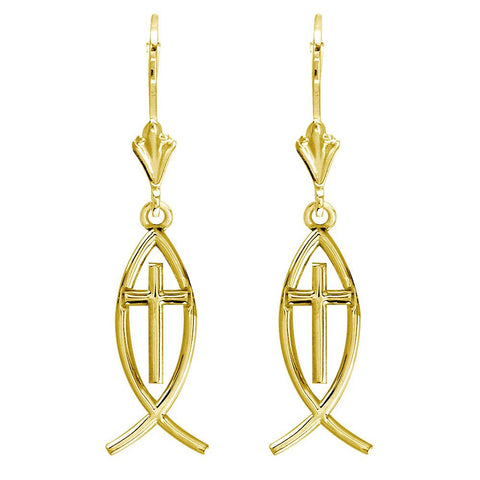 Small Messianic Fish with Cross Charm Earrings in 14k Yellow Gold