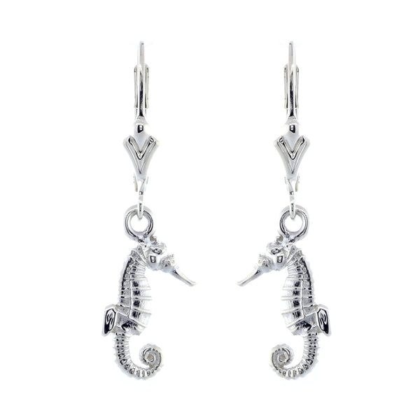 Mini Seahorse Charm Earrings in 14k White Gold