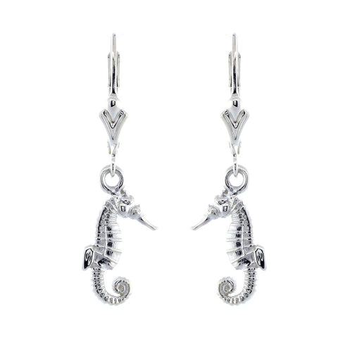 Mini Seahorse Charm Earrings in Sterling Silver