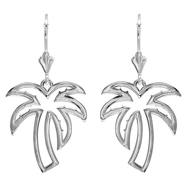 Open Palm Tree Leverback Earrings in 14K White Gold